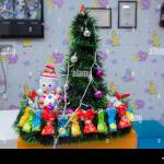 Small Fir Tree Snowman Candies Vintage Snowman Small Figurine And A Christmas Tree Snowman In A Colorfull Hat And Scarf On A Christmas Tree Background Stock Photo Alamy