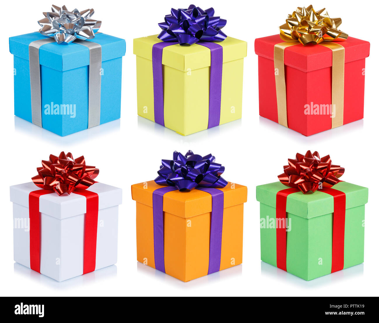 Collection Of Birthday Gifts Christmas Presents Boxes Isolated On A White Background Stock Photo Alamy