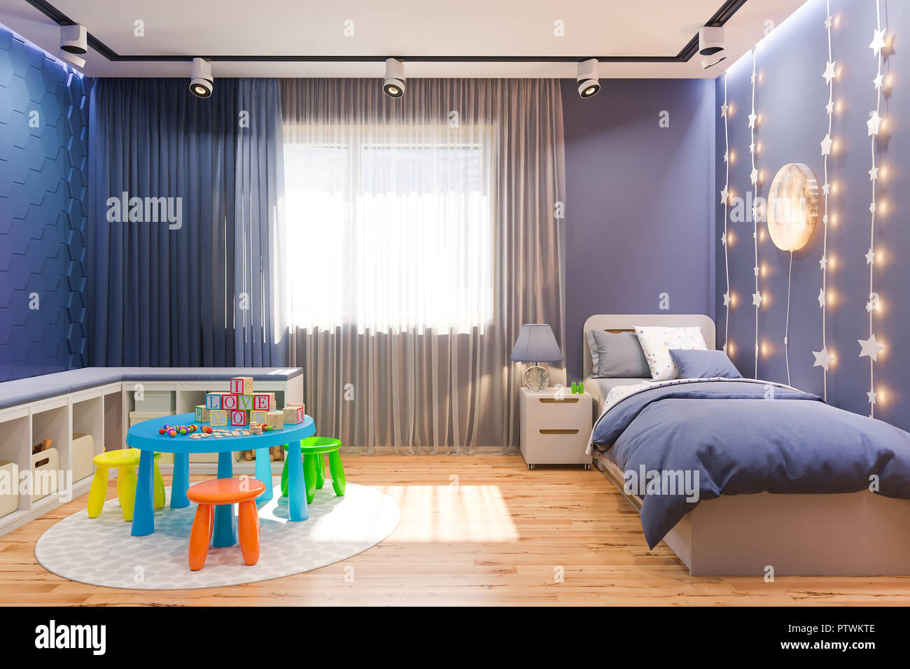 https www alamy com 3d illustration of the kids bedroom in deep blue color visualization of the concept of interior design child room for boy in a space theme image221840542 html