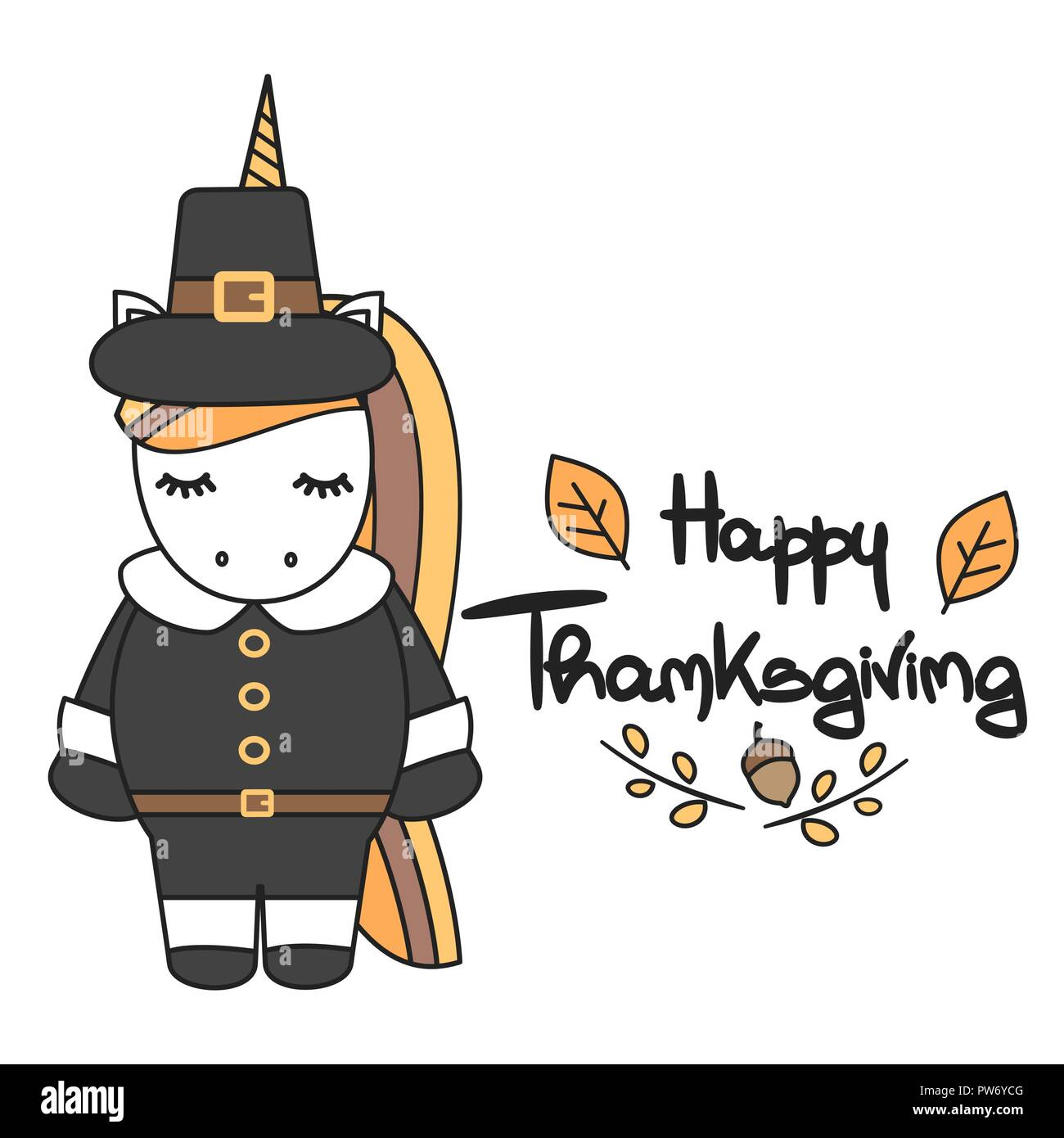 Cute Hand Drawn Lettering Happy Thanksgiving Vector Card With Pilgrim Unicorn Stock Vector Image Art Alamy