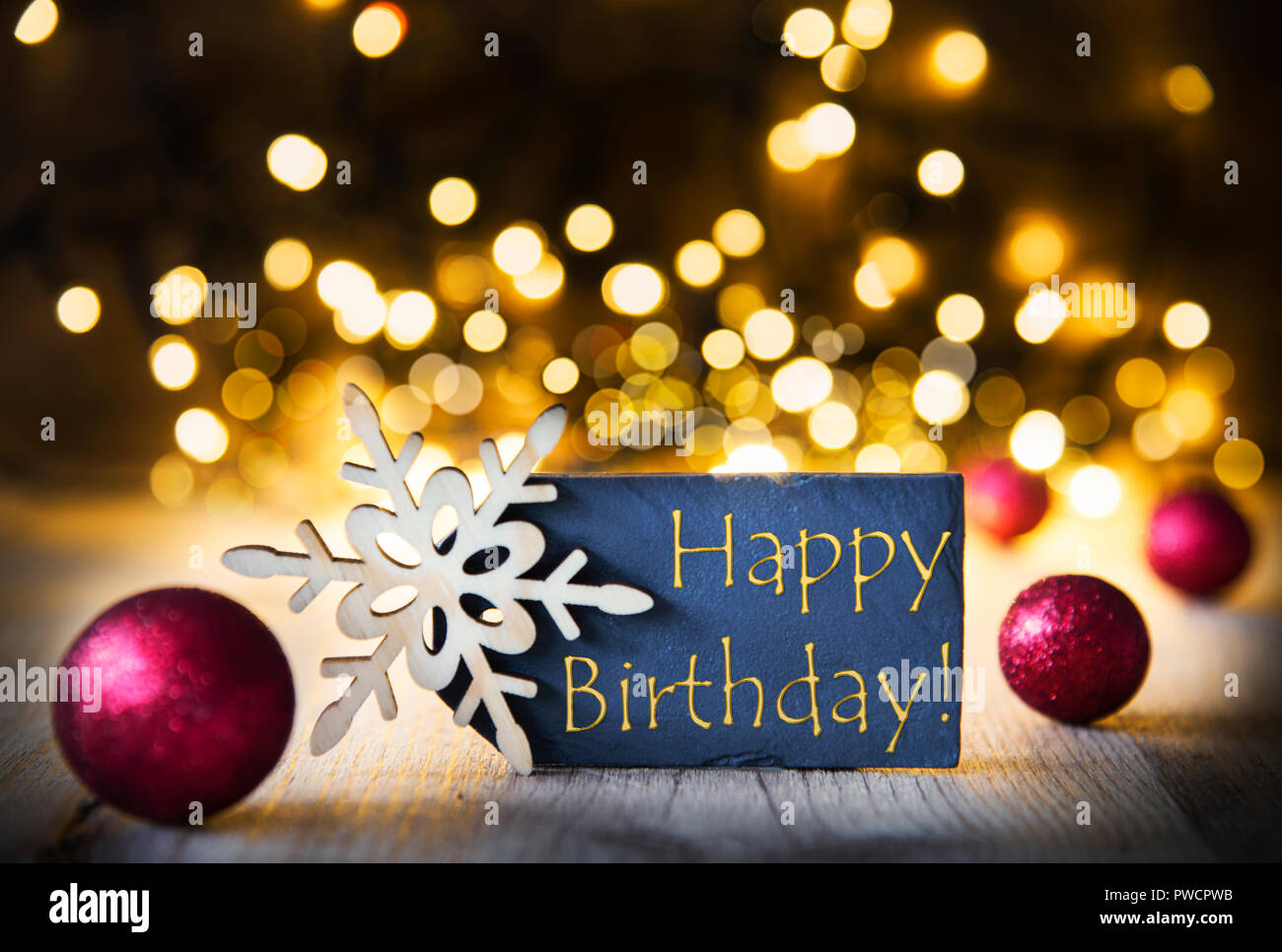 Christmas Background Sparkling Lights Text Happy Birthday Stock Photo Alamy