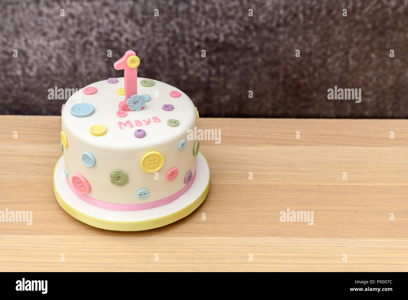 Homemade 1st Birthday Cake Stock Photo Alamy