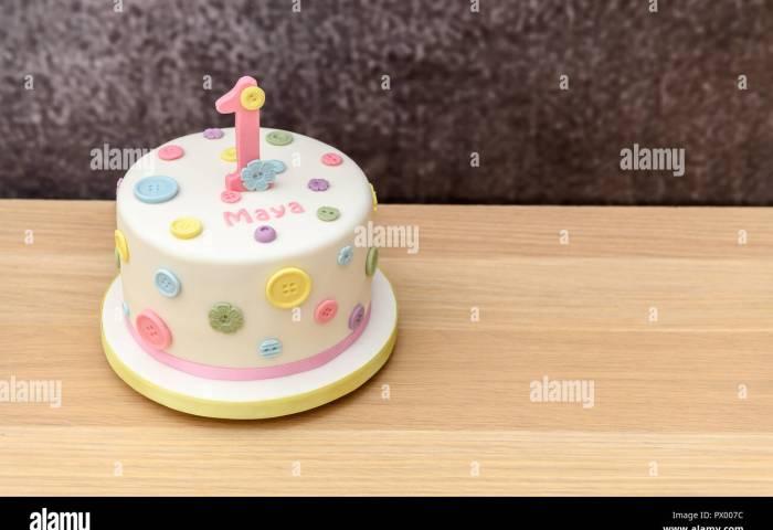 Homemade 1st Birthday Cake Stock Photo 222505680 Alamy
