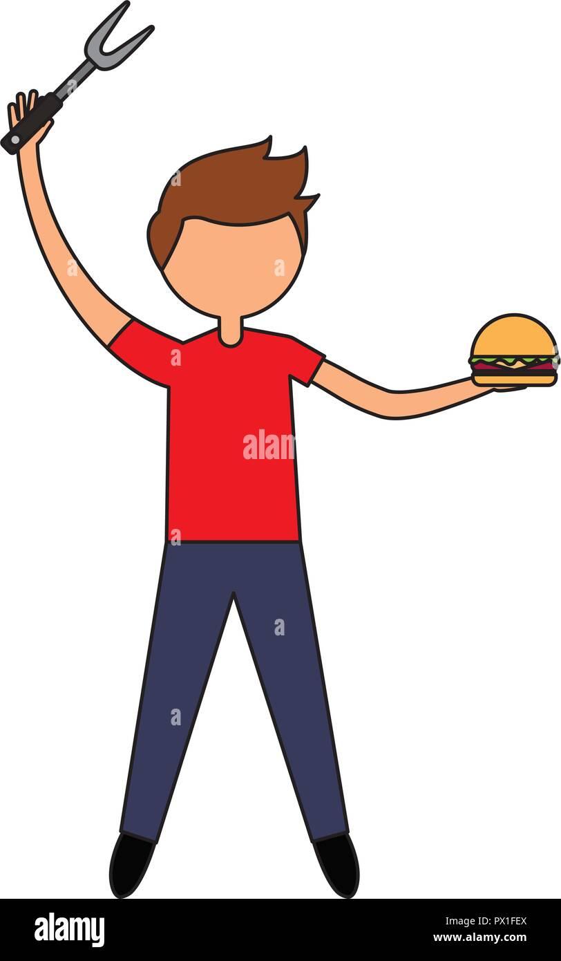 Eating Fat Burger Happy Guy