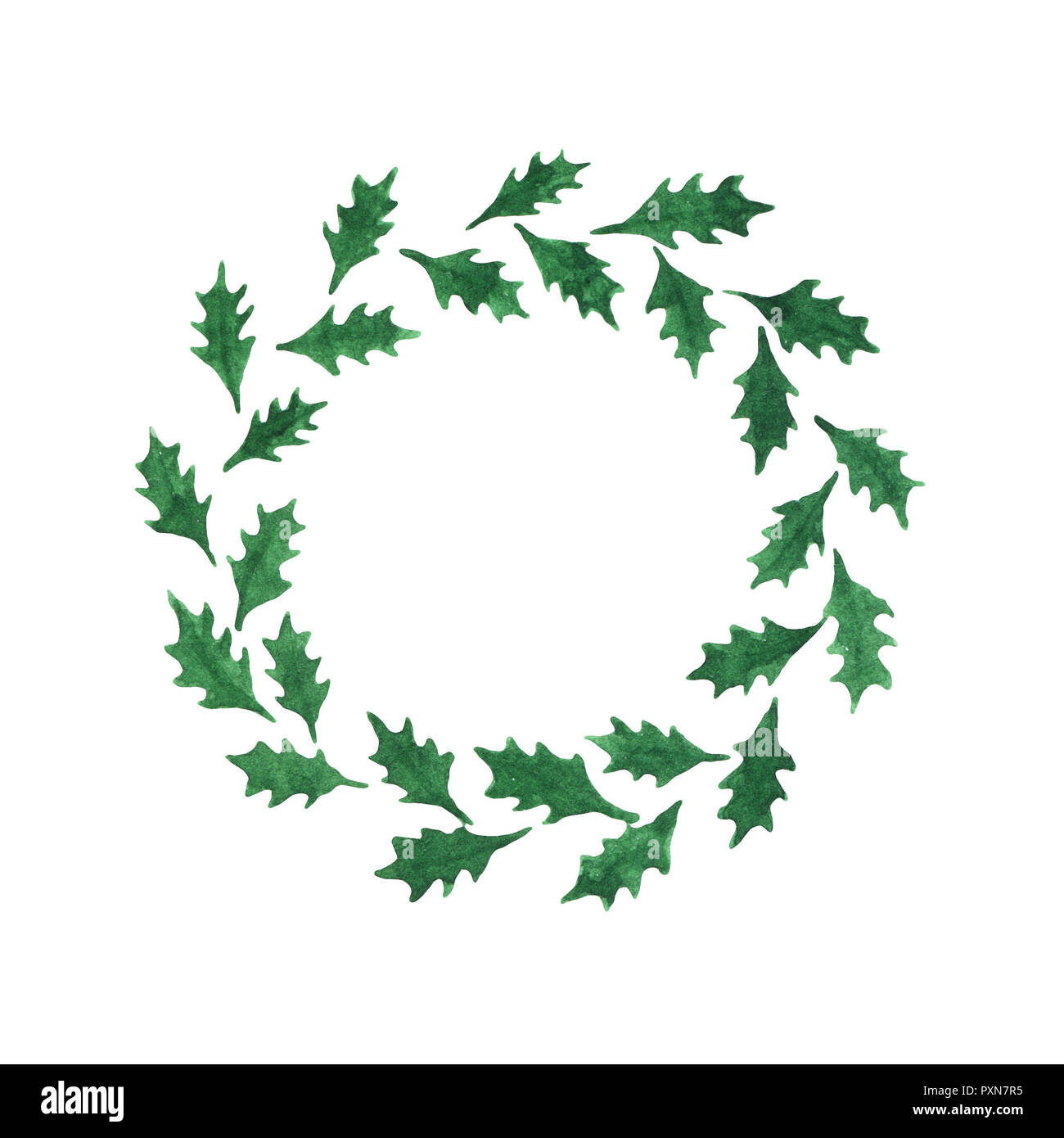 Abstract Watercolor Holly Leaves Wreath Isolated On The White Background Template For Christmas And New Year Designs Stock Photo Alamy