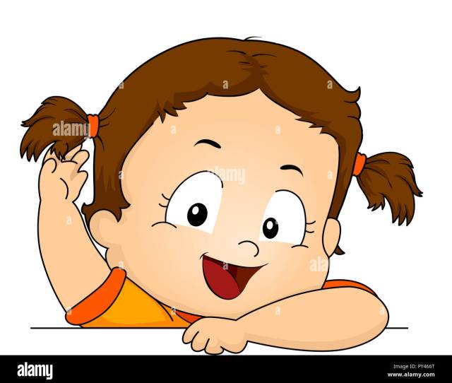 Illustration Of A Kid Girl Toddler Showing Her Hair Tied Up Stock Image