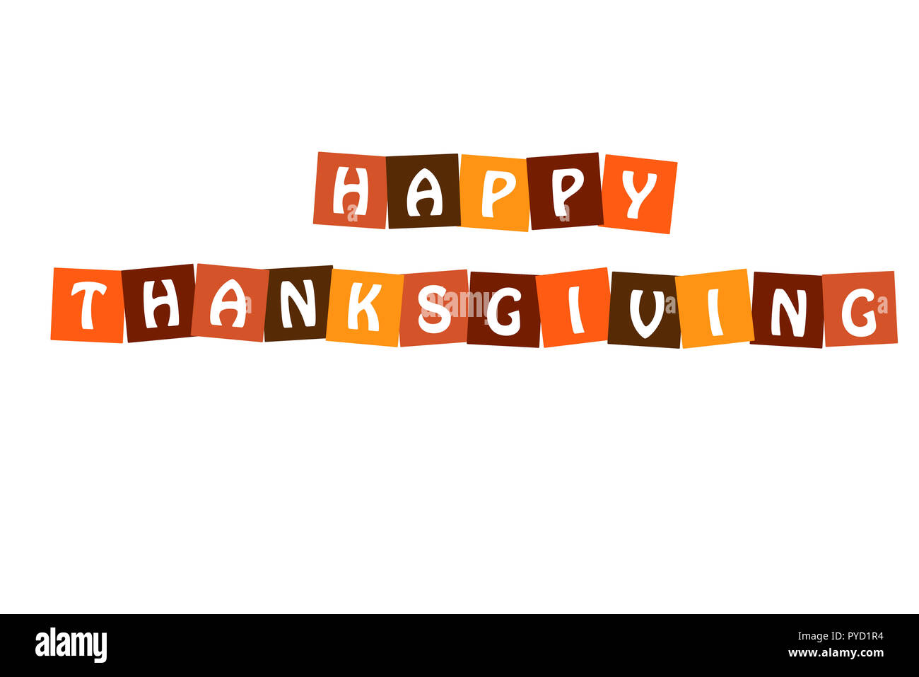 Happy Thanksgiving Poster Vector Letters In Squares With