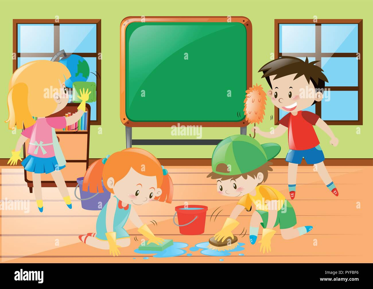 Children Cleaning Classroom High Resolution Stock
