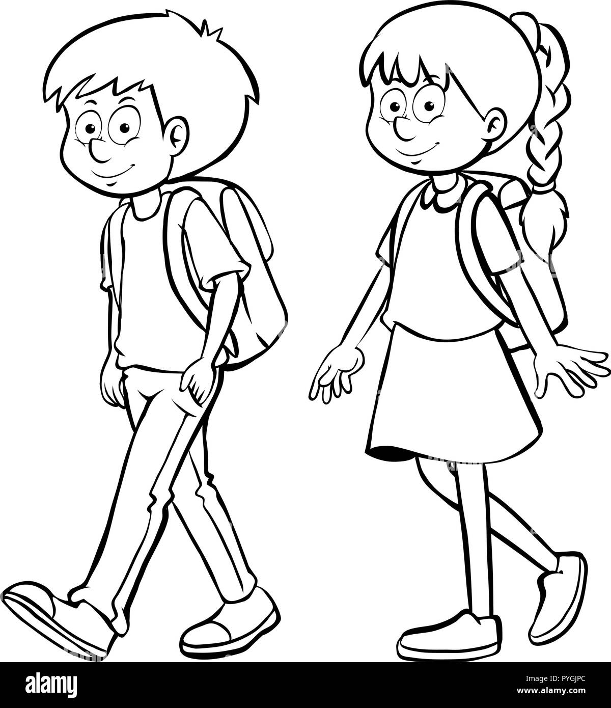 Human Outline For Boy And Girl Illustration Stock Vector