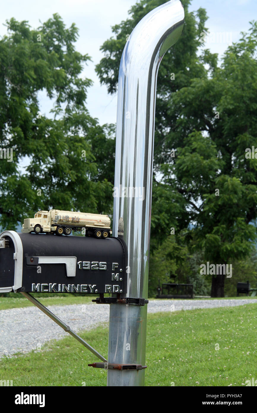https www alamy com trucks exhaust stack used as mailbox pole image223495951 html
