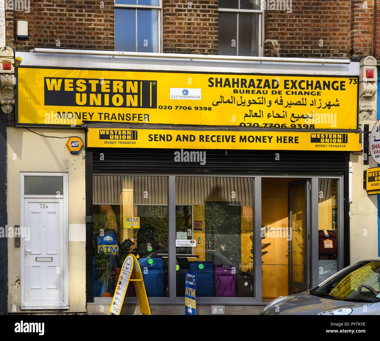 london united kingdom october 18 2018 the frontage of western union and shahrazad exchange bureau on praed st