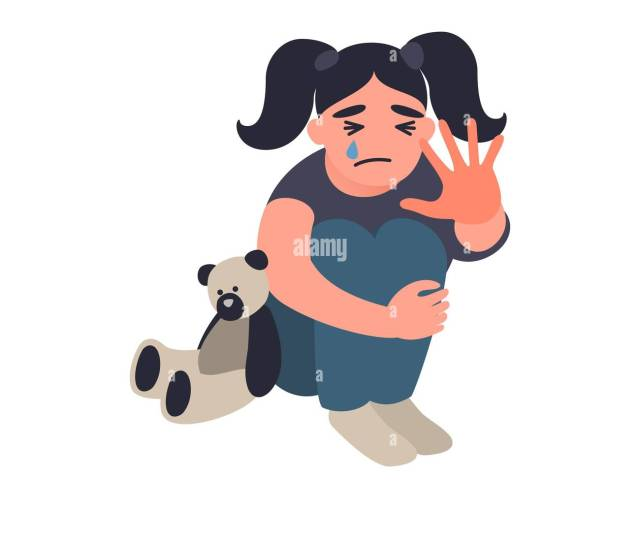 Stop Violence And Abused Children Little Girl Is Sitting On The Floor And Crying Unhappy Childhood Concept Childrens Traumatic Experience