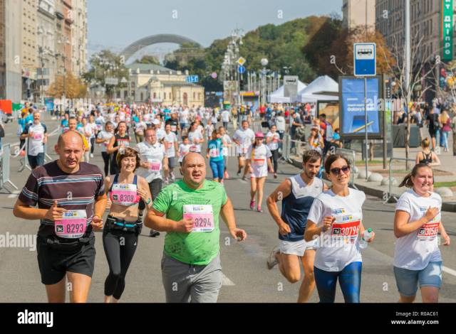 Ukraine Kiev Ukraine  Athletes And Amateurs Are Running People Are Engaged In Running Promotion Of Healthy Lifestyles