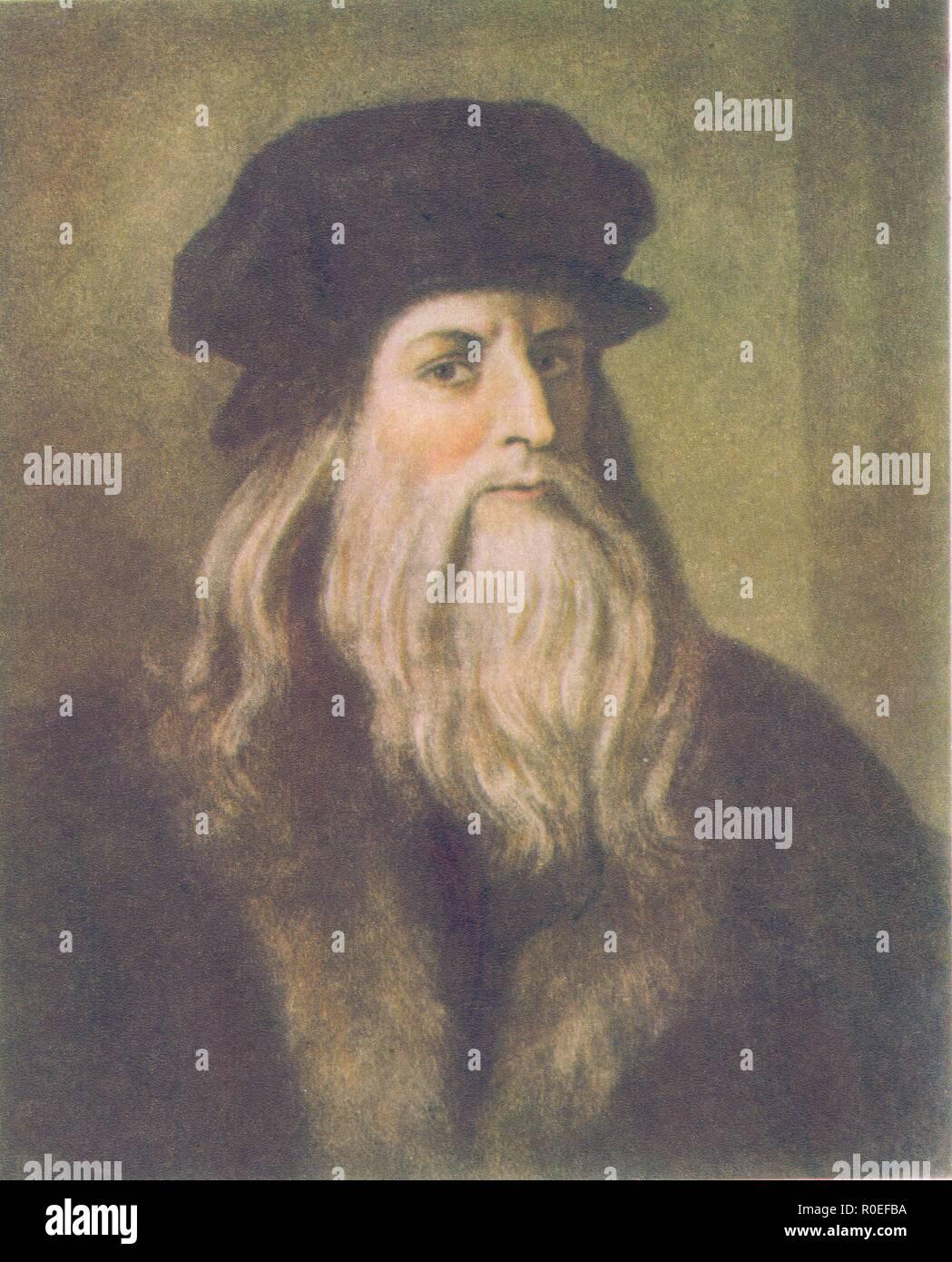 Leonardo Da Vinci Self Portrait Stock Photo Alamy