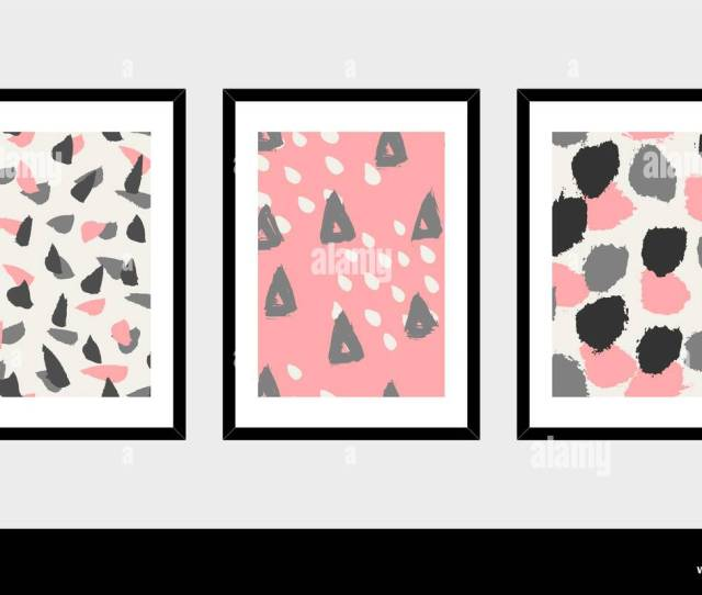 A Set Of Three Framed Art Prints In Black Pink Gray And White Isolated On Light Gray Background Abstract Art Posters Printable Greeting Cards T S