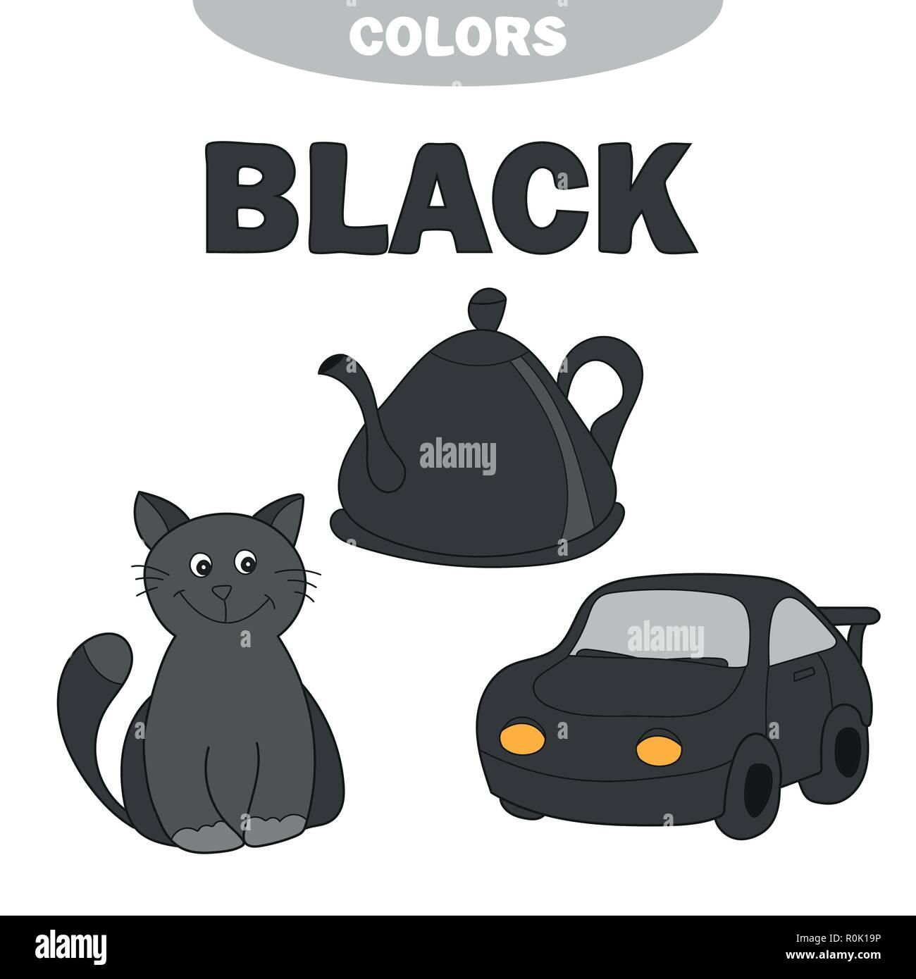 Learn Colors Worksheet Set For Kids Black Stock Vector