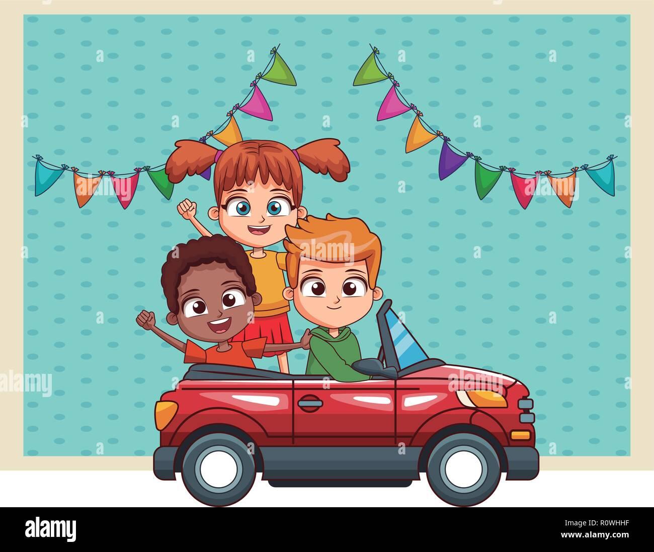 Three Kids Driving Car Cartoon Stock Vector Image Art Alamy