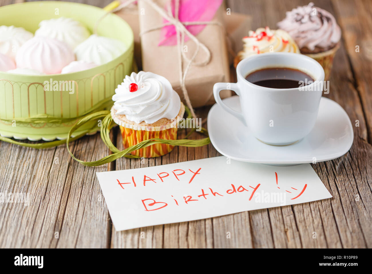 Cup Of Coffee And Message Happy Birthday With Sweets Stock Photo Alamy
