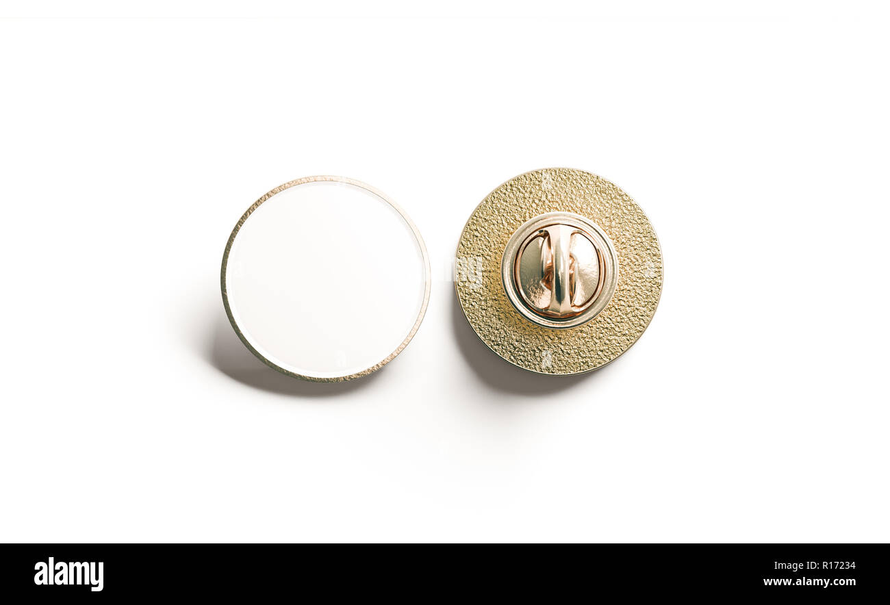 Blank White Round Gold Lapel Badge Mock Up Front And Back