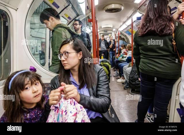 London England United Kingdom Great Britain Westminster Embankment Underground Station Tube Subway Public Transportation Train Interior