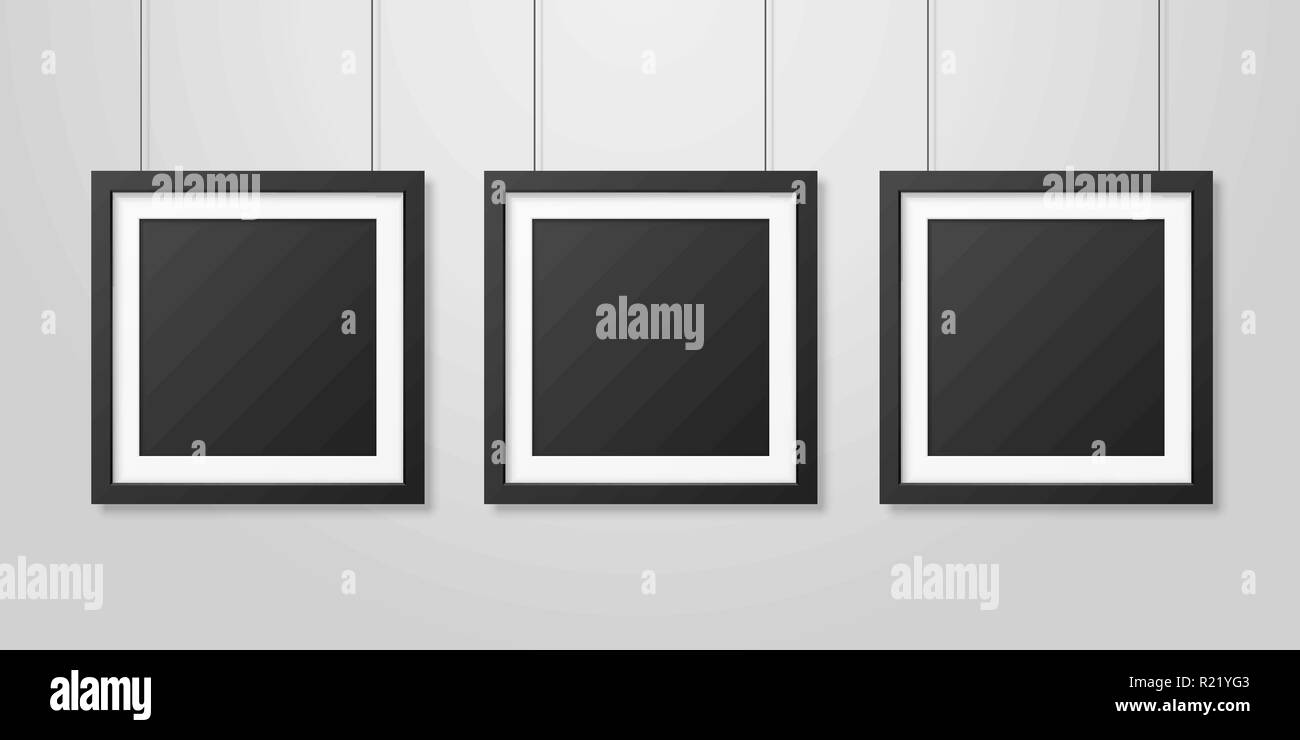 https www alamy com three vector realistic modern interior black blank square wooden poster picture frame set hanging on the ropes on white wall mock up empty poster frames design template for mockup presentation image225007667 html