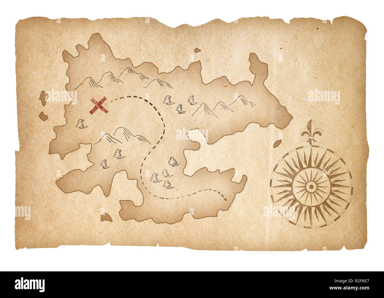 Treasure Map Of Pirates Isolated With Clipping Path