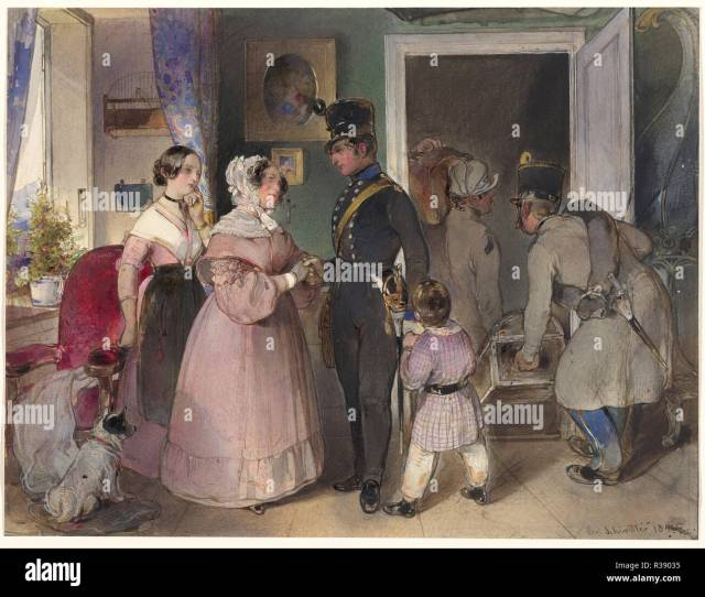 A Young Officer Saying Farewell To His Family Dated 1841 Dimensions Sheet 25  Cm  X 13 In Medium Watercolor And Gouache Over Graphite
