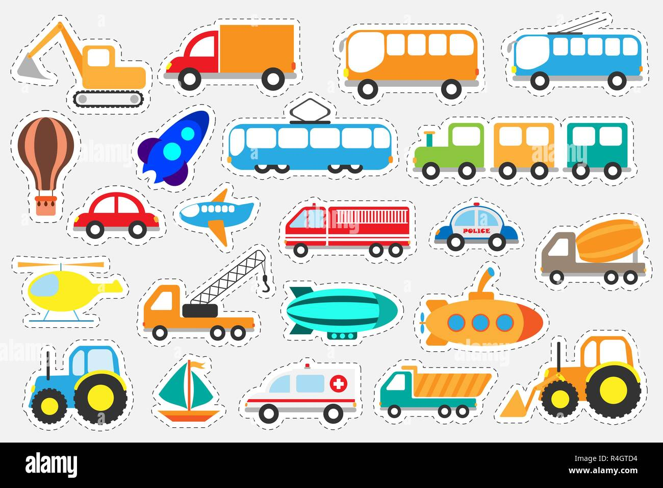 Different Colorful Transport For Children Fun Education