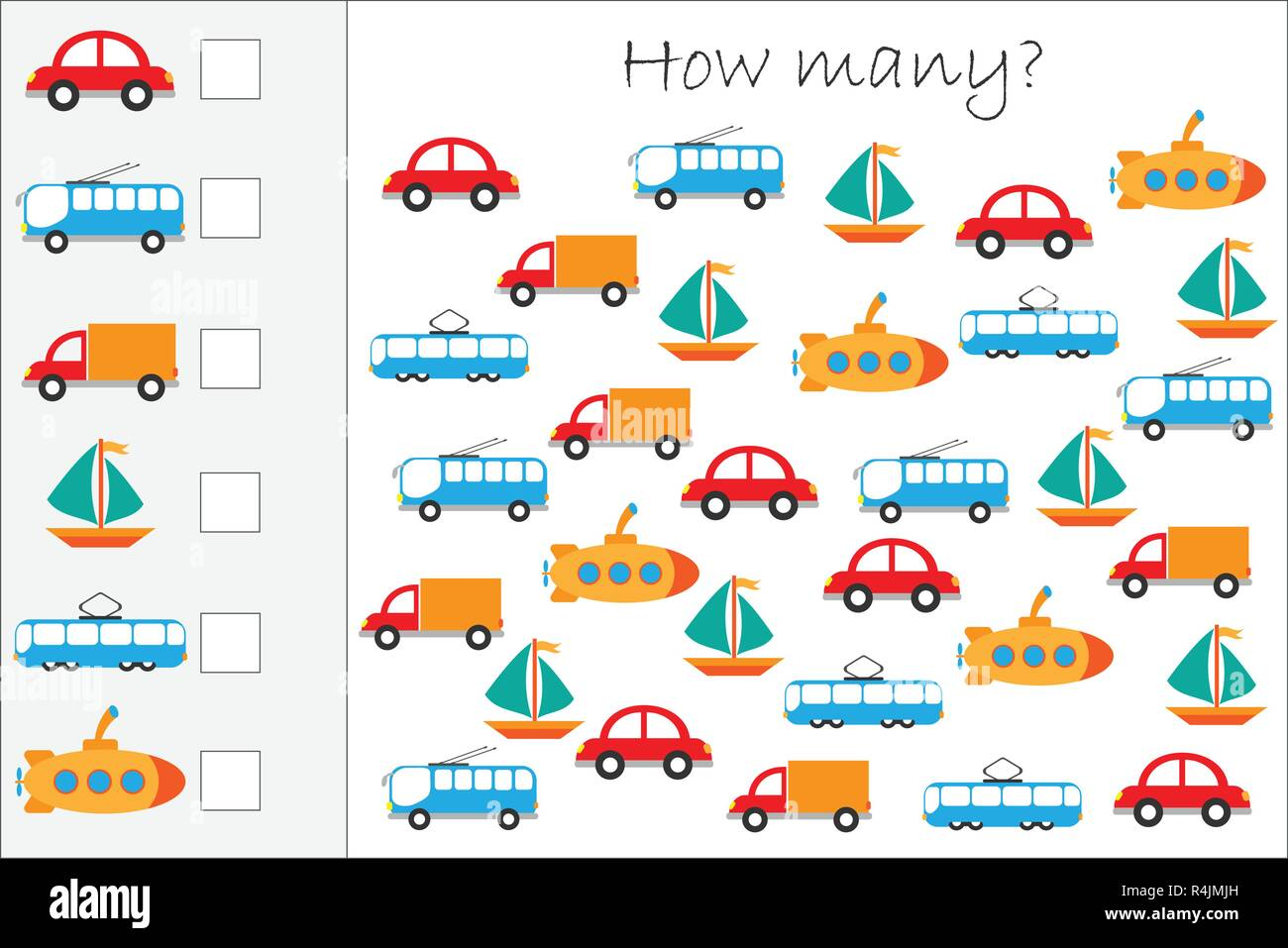 How Many Counting Game With Colorful Transport For Kids