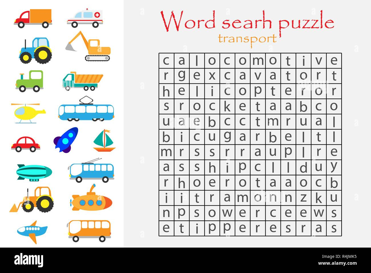 Word Search Puzzle For Children Transport Theme Fun Education Game For Kids Preschool