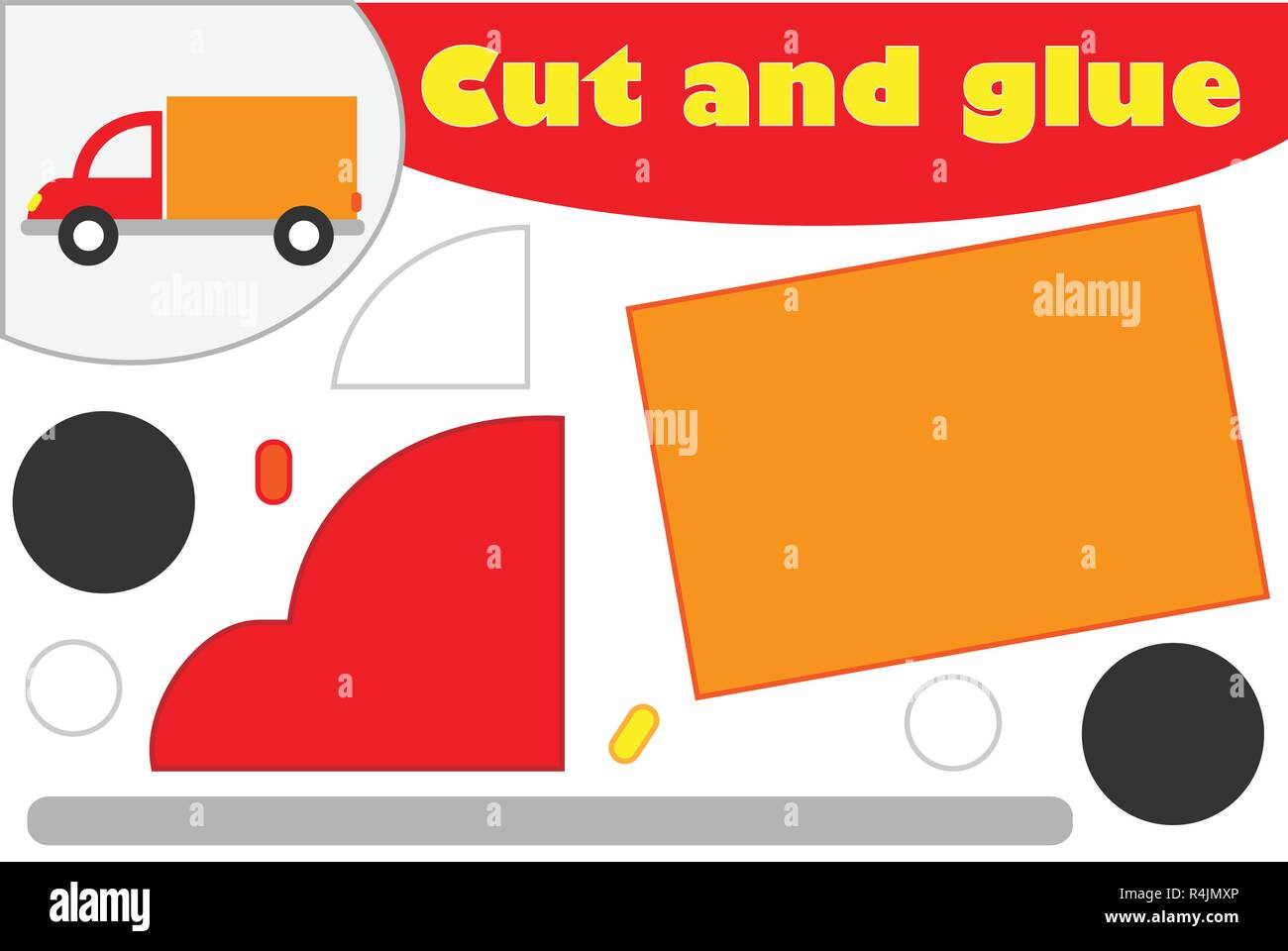 Truck In Cartoon Style Education Game For The Development