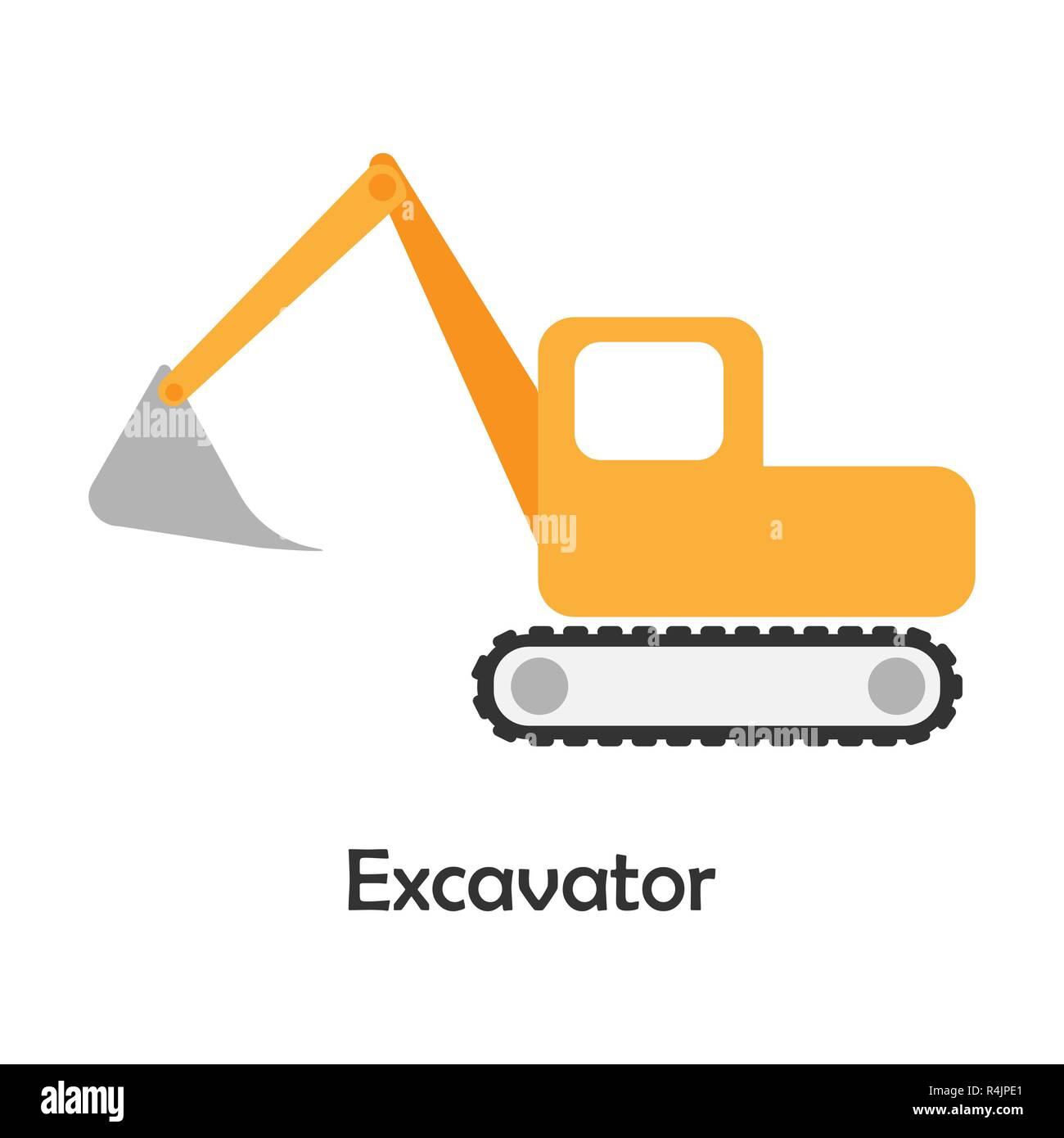 Icon Excavator Flat Design Stock Photos Amp Icon Excavator