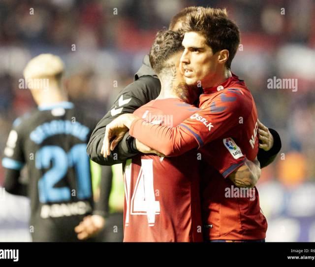 Ruben Garcia Midfield Ca Osasuna And Nacho Vidal Defender Ca Osasuna Are Seen Embracing After The