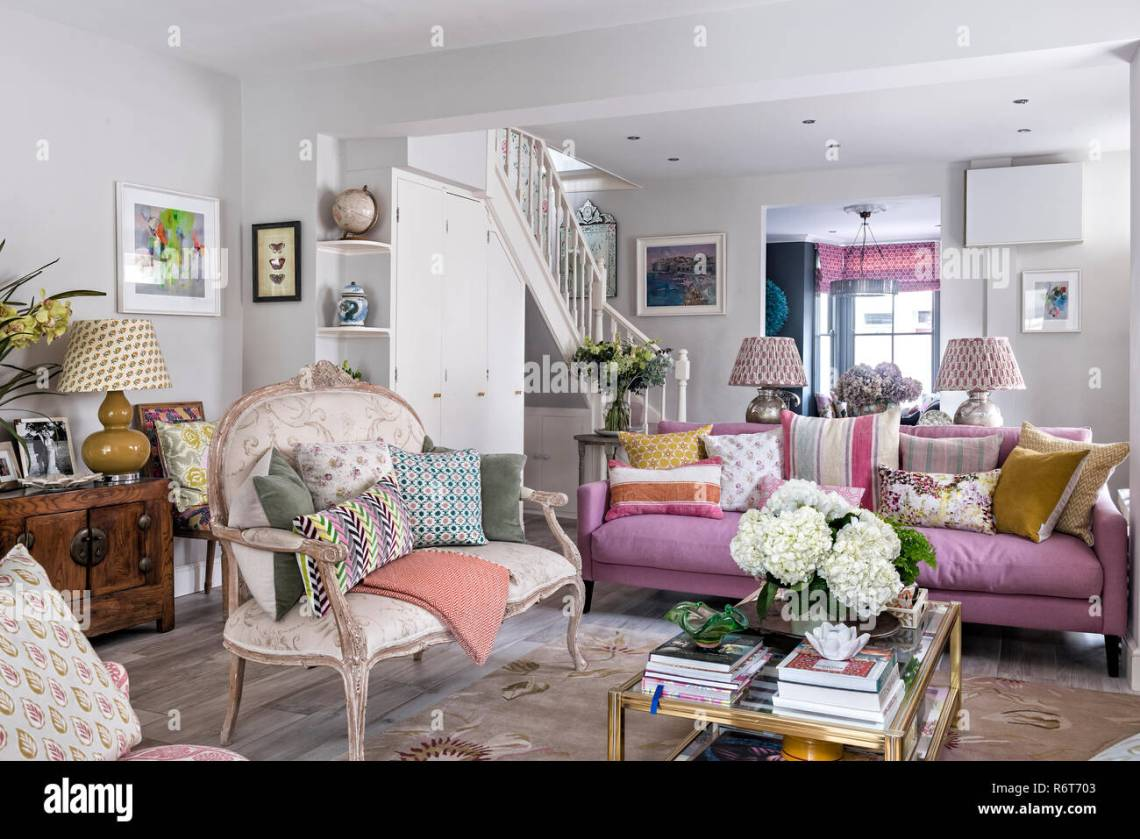 Open Plan Living Room With Vintage French Style Sofa Stock Photo Alamy