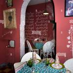 Morocco Fes Fes El Bali Fes Cafe Interior Decoration Of Upmarket Restaurant Stock Photo Alamy