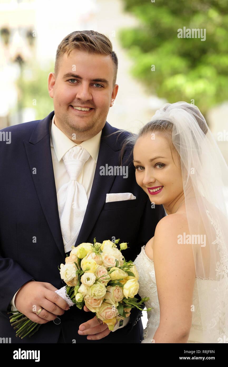Young Couple Wedding Love Marriage Couple On Wedding Day Two People Outdoor Happiness Smiling Man Women Bridge Celebration Stock Photo Alamy