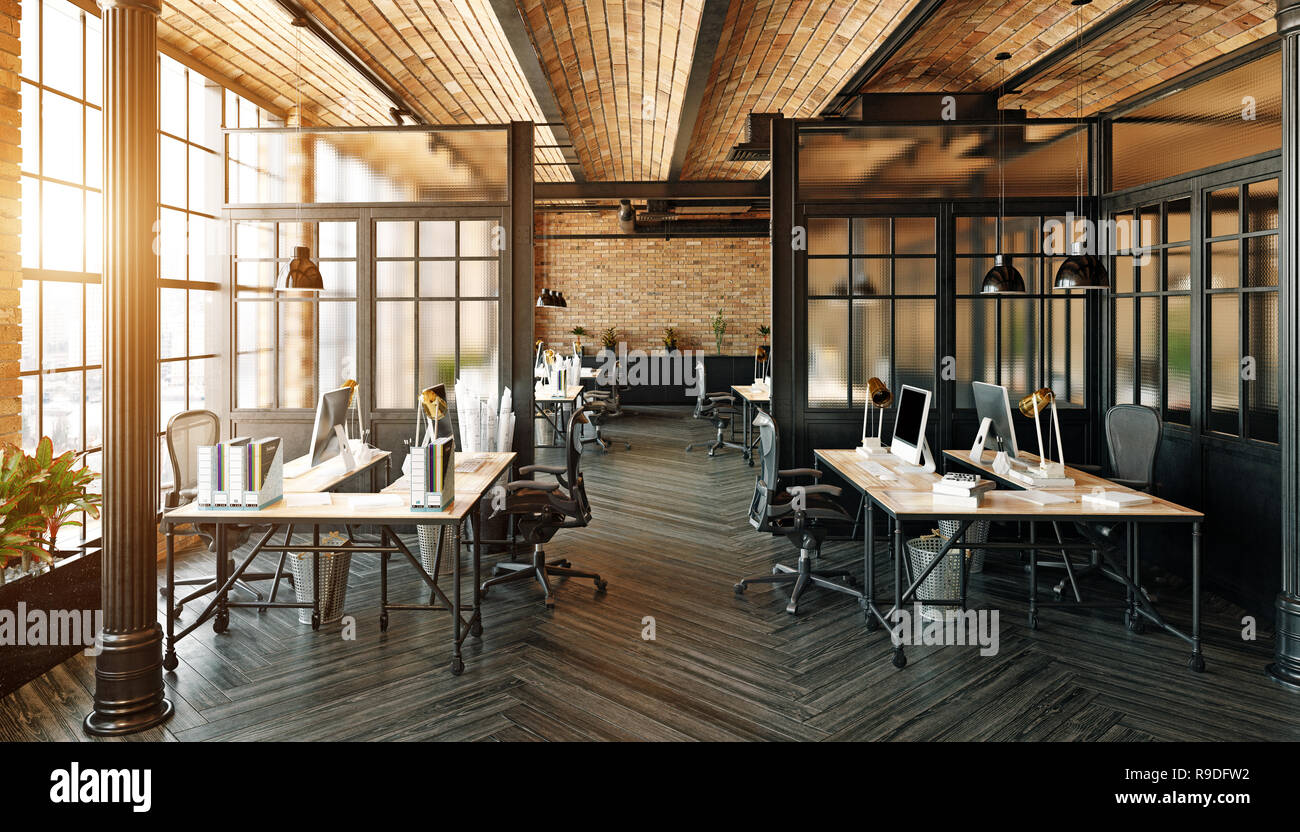 https www alamy com modern office interior design loft concept 3d rendering image229564526 html