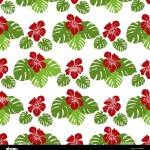 Seamless Pattern With Monstera Leaves And Hibiscus Flowers Tropical Background Design For Banner Poster Textile Print Stock Vector Image Art Alamy