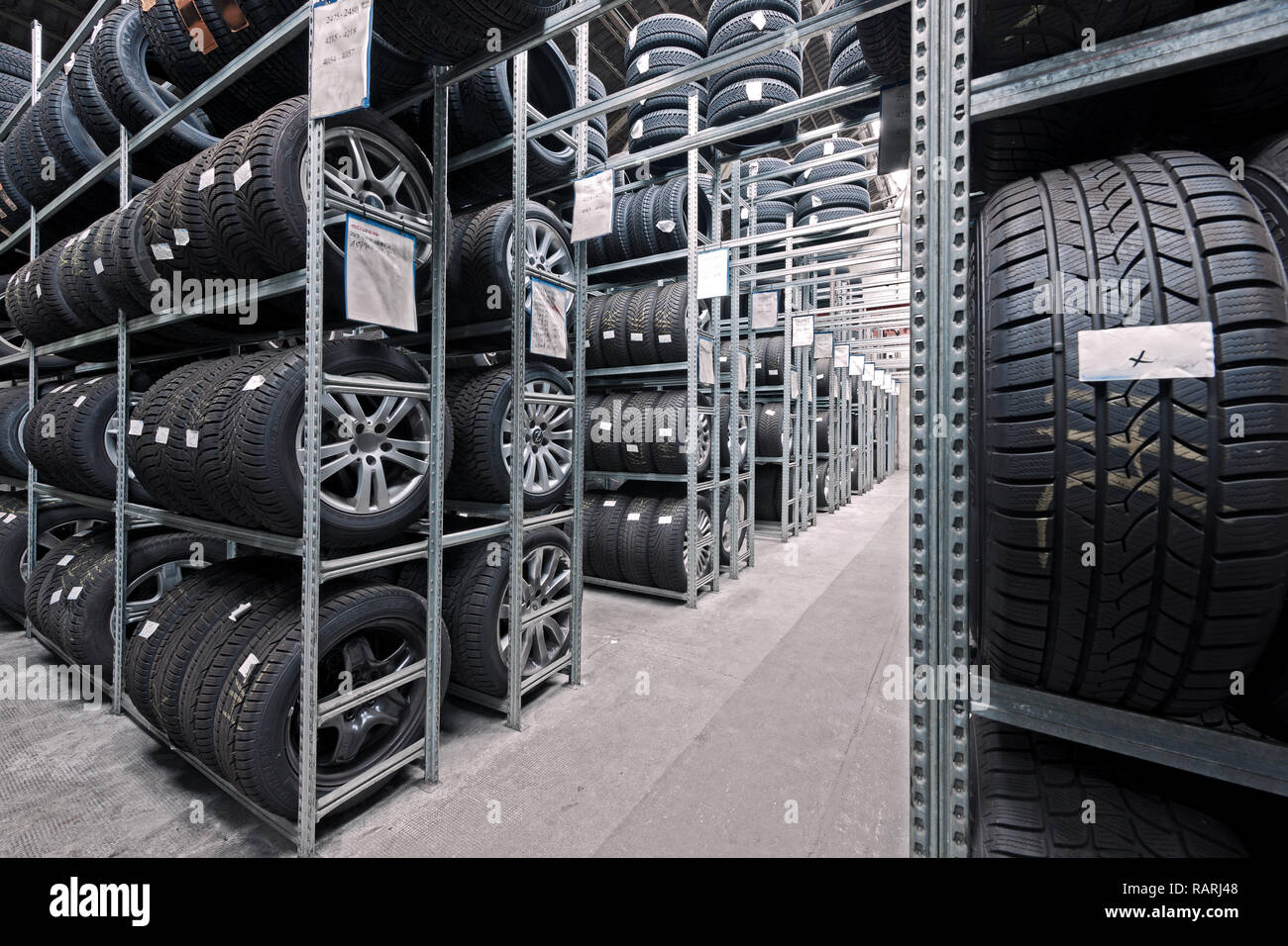 https www alamy com rows of high tyre rack of a car shop image230400472 html