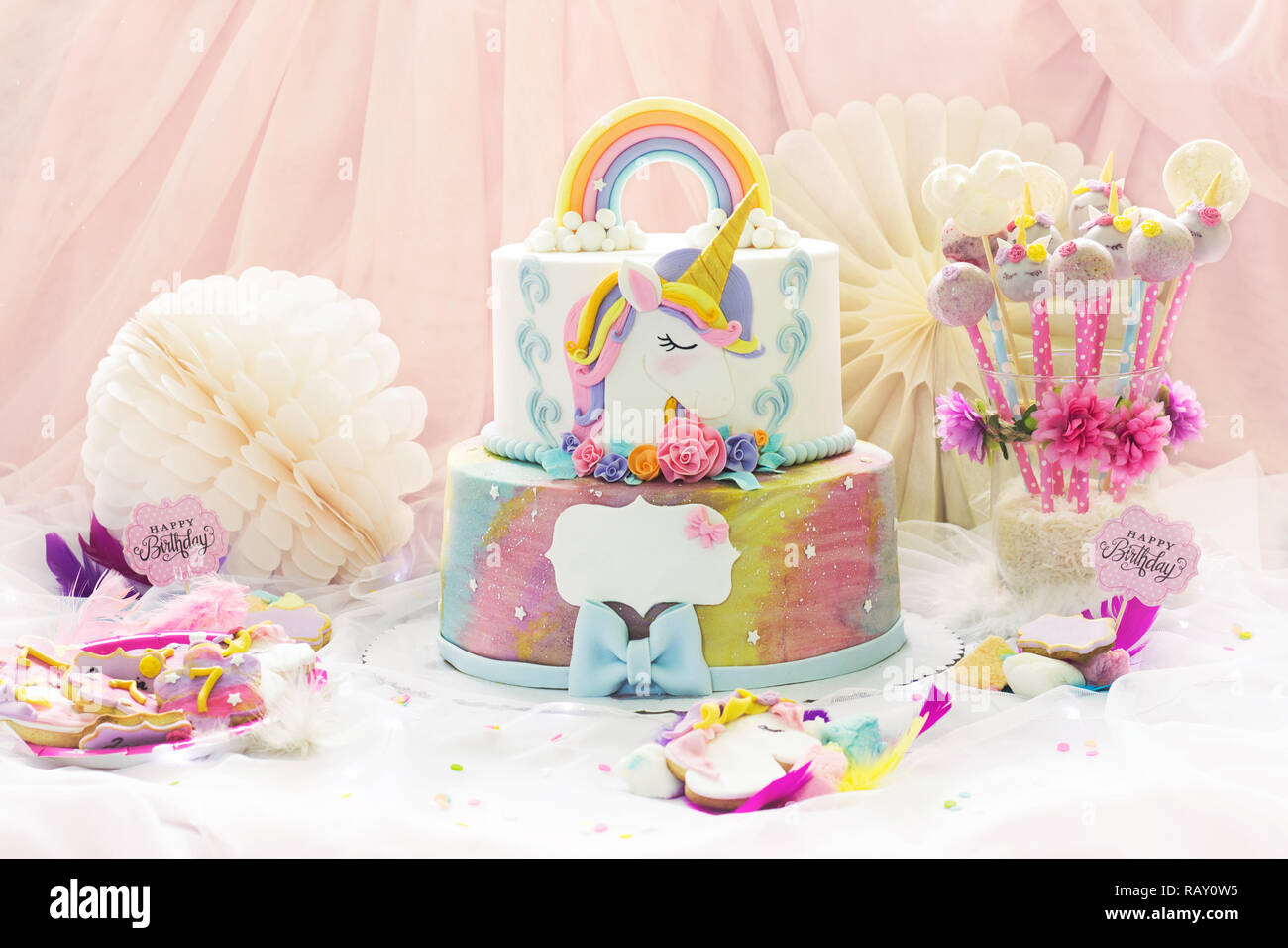 Little Girl S Birthday Party Dessert Table With Unicorn