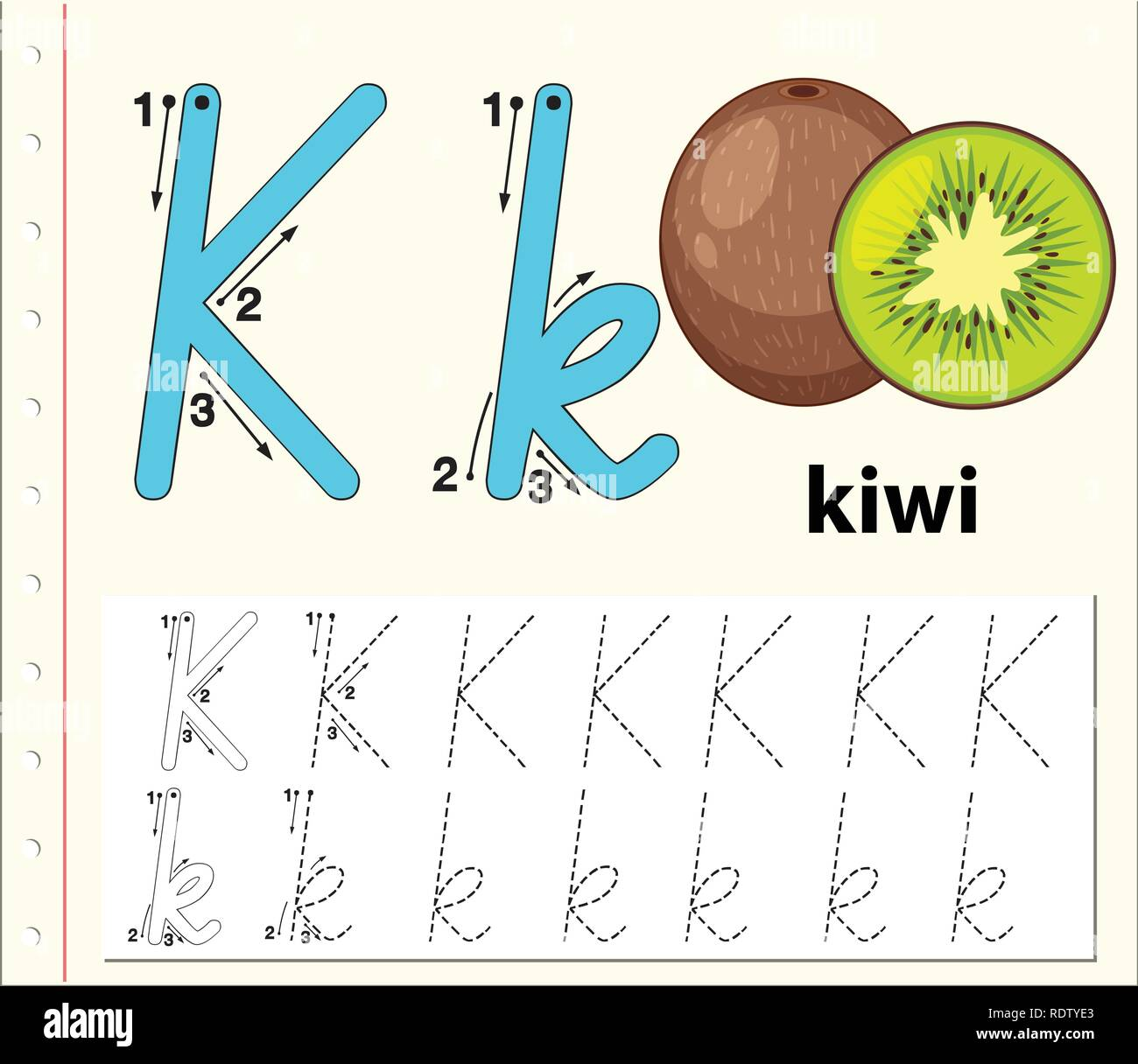 Letter K Tracing Alphabet Worksheets Illustration Stock