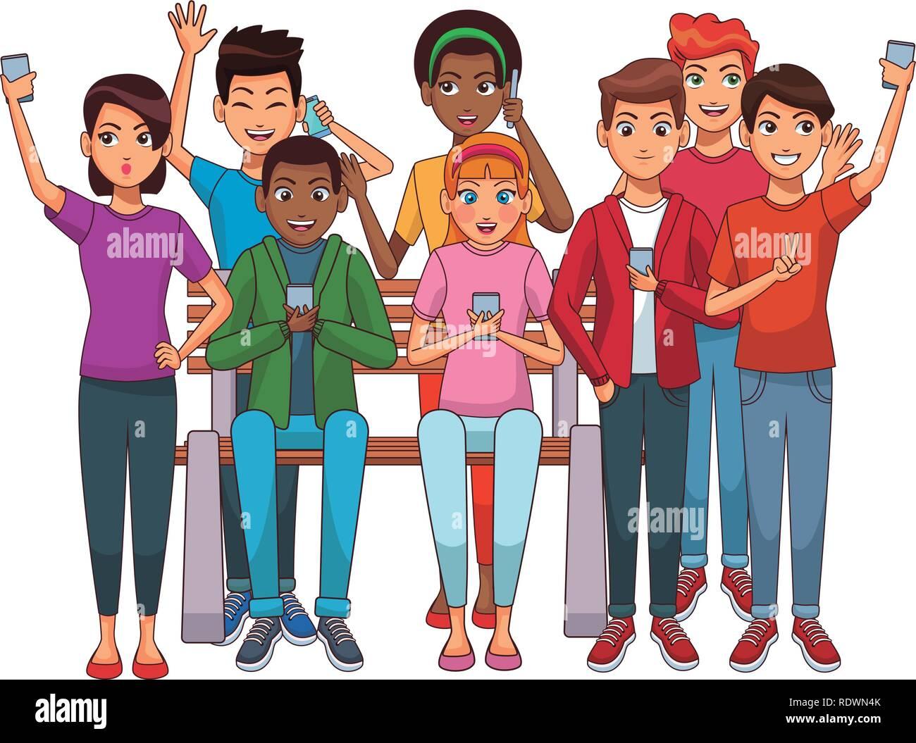Group Of Friends Cartoon Stock Vector Art Amp Illustration