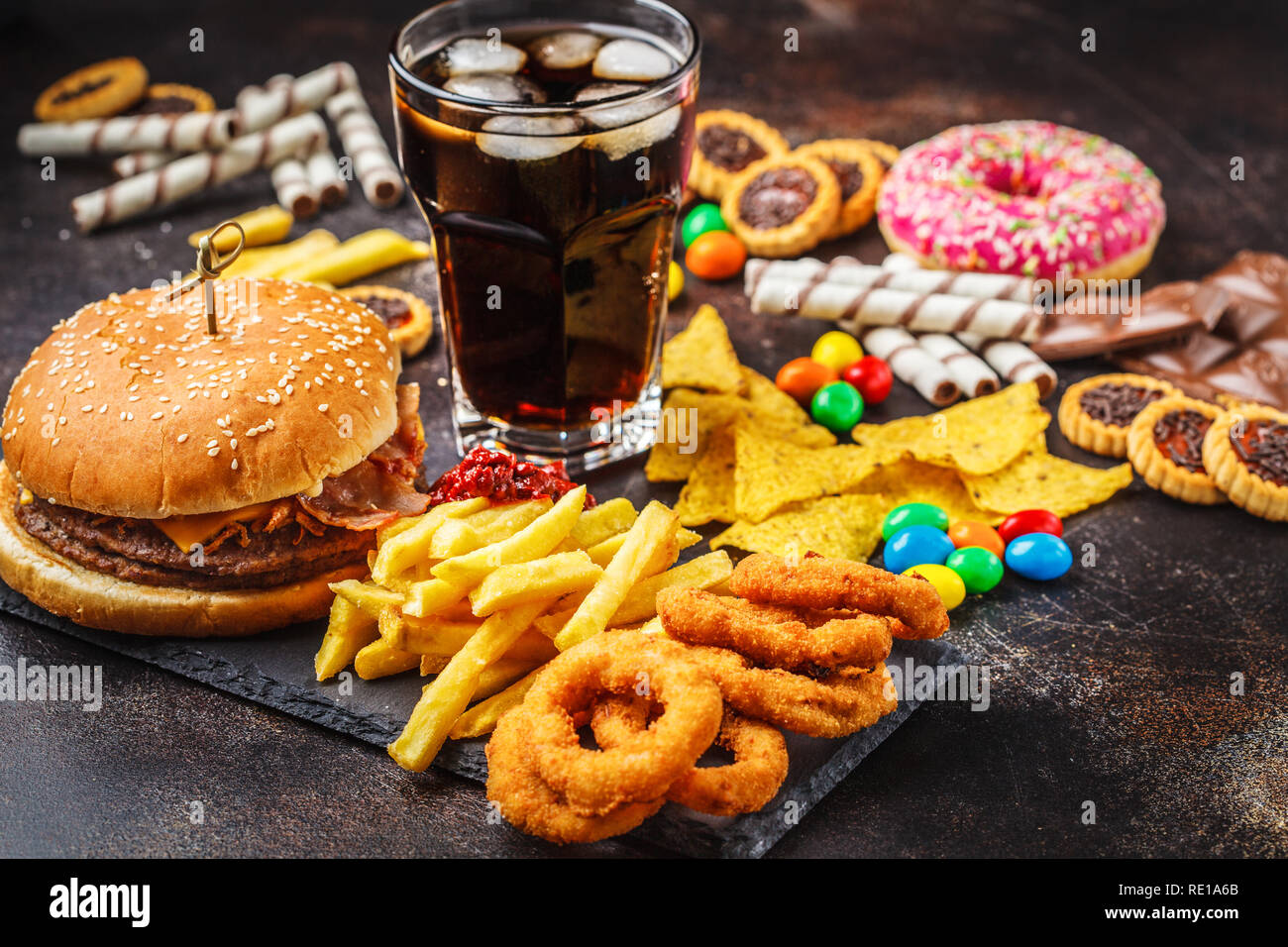 Junk Food Concept Unhealthy Food Background Fast Food