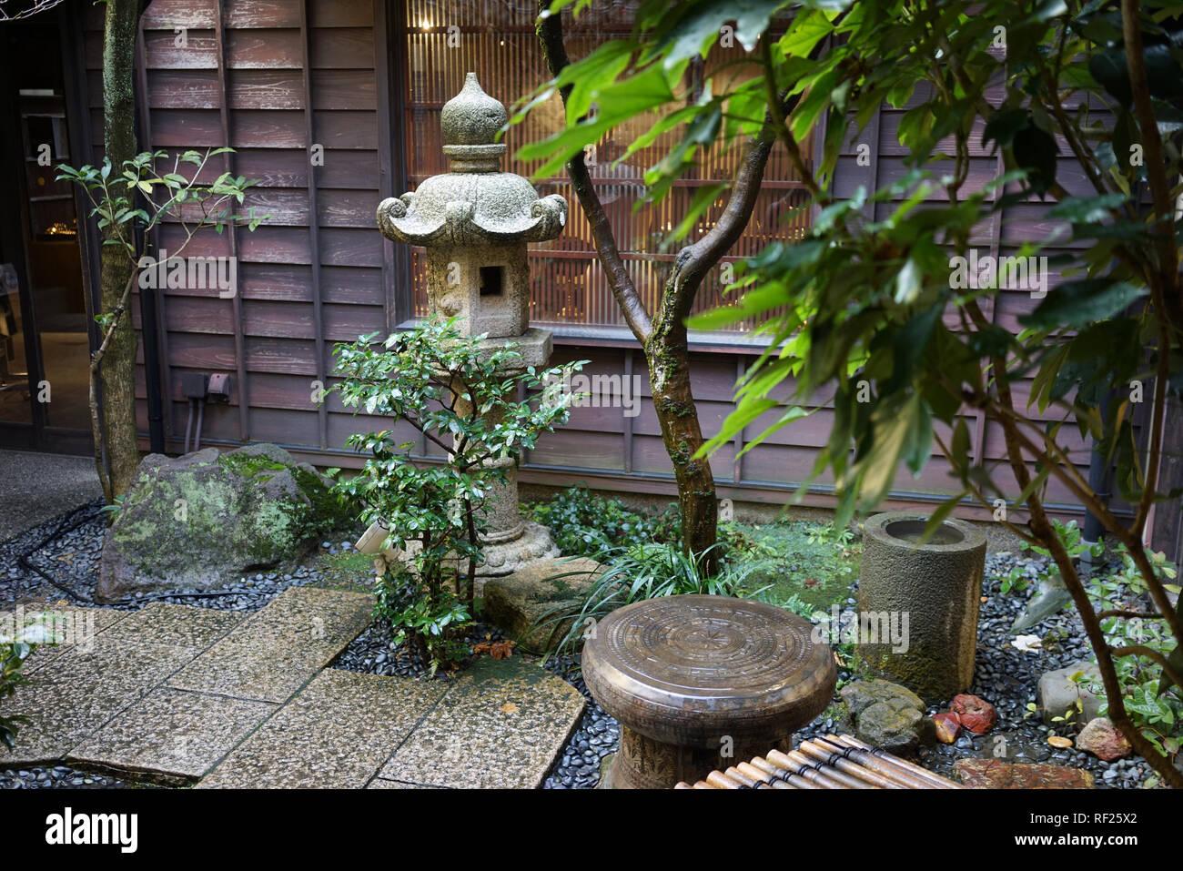 Small Japanese Garden In Kanazawa Japan Stock Photo Alamy