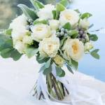 Wedding Bouquet Of White Roses And Greenery Close Up Stock Photo Alamy