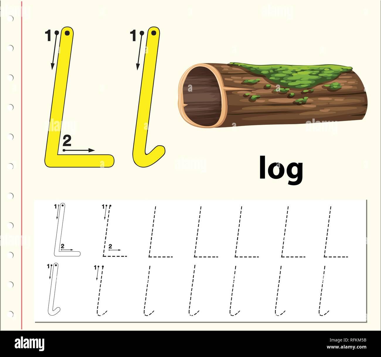 Letter L Tracing Alphabet Worksheets Illustration Stock