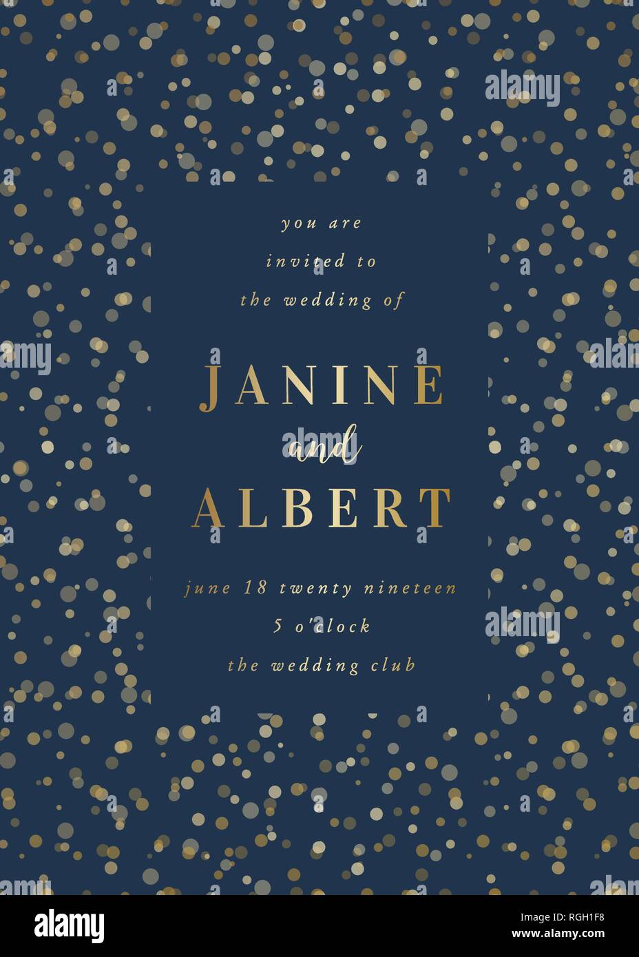 https www alamy com wedding invitation design template with golden lights on dark blue background and sample text layout vector greeting card save the date brochure de image233943676 html