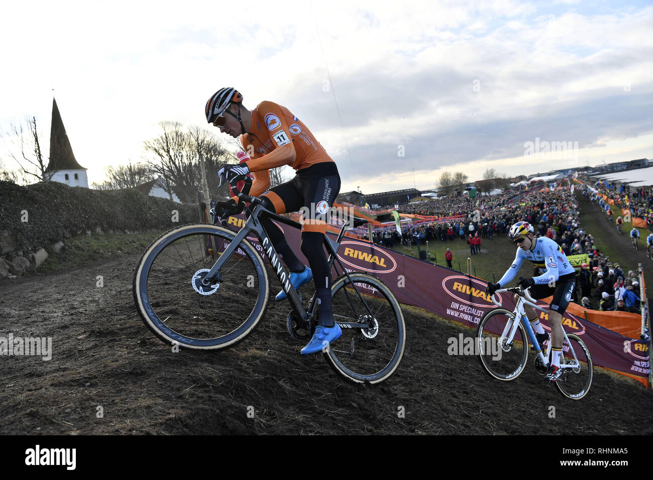 https www alamy com bogense denmark 3rd feb 2019 mathieu van der poel of the netherlands followed by wout van aert in the mens elite race during the uci 2019 cyclo cross world championships in bogense denmark mathieu van der poel eventually won the god medal credit lars moellerzuma wirealamy live news image234660893 html
