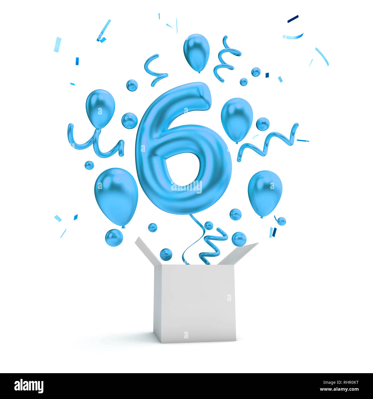 Happy 6th Birthday Blue Surprise Balloon And Box 3d Rendering Stock Photo Alamy