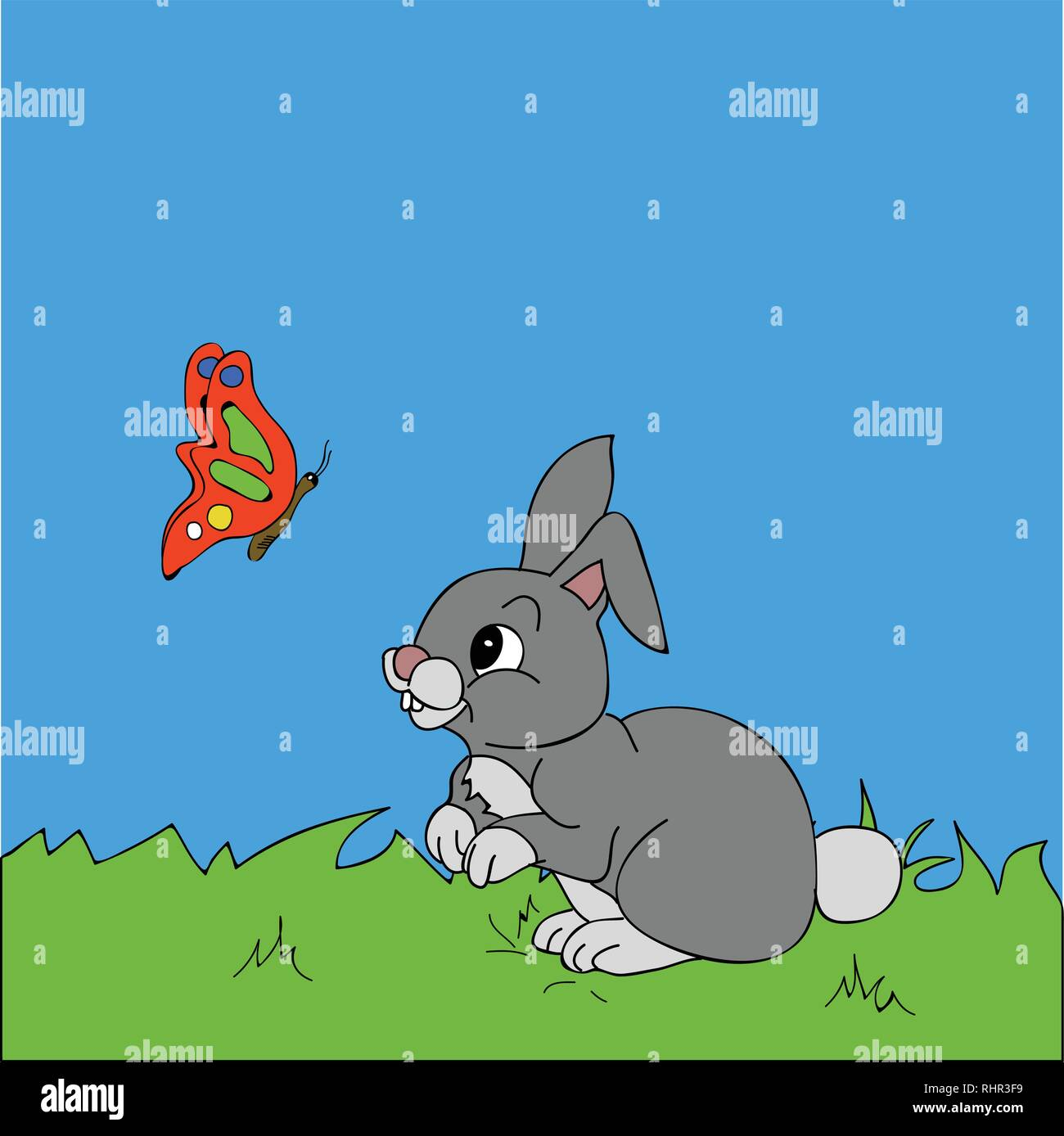 Hand Drawn Cute Rabbit And Butterfly Cartoons Style Over Grass And